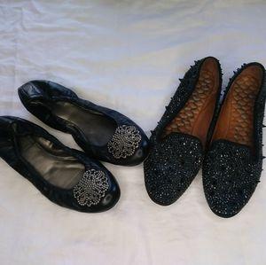 Pointy Toe Flats Sparkly bow Spikes in Gray Sam /& Libby New sz 10